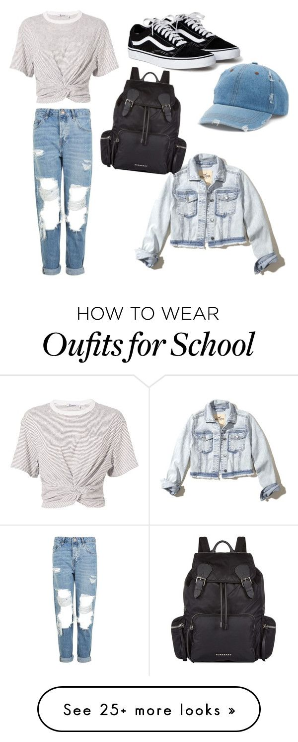 """Old School"" by hello-pe on Polyvore featuring Topshop, T By Alexander Wang, Mudd, Hollister Co. and Burberry"
