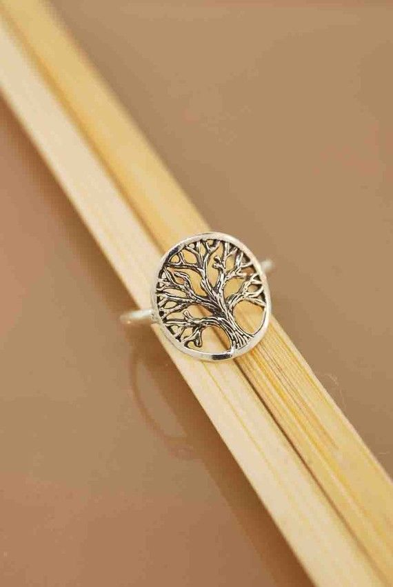 """A beautifully detailed oak tree spreads its canopy of branches in this all sterling silver ring. This ring is ideal for everyday wearing. The circled tree measures 5/8"""". @Lauren Cloete"""