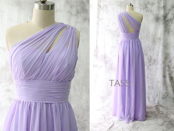 Lavender Bridesmaid Dresses, One Shoulder Long Chiffon Bridesmaid Gown, Long Chiffon Party Dresses  ================================================