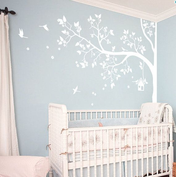 Vinyl Wall Decal kids Corner Blossom Tree decal Birds by Stars1986