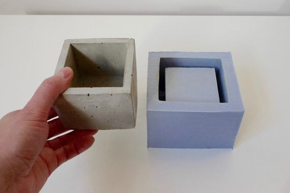 Silicone mold for multiple use: one piece mould to cast square concrete planter. This reusable silicone mould is intended to make medium concrete geometric planter for succulents and cacti shown on the photo. With this mould you can make concrete planters with the following outside dimensions:  6.5cm (2.5) tall 8cm (3) wide 1cm (0.4) thick _______________________________  Silicone mold is thick enough to withstand multiple usage, and flexible enough for easy de-molding. Silicone does not…