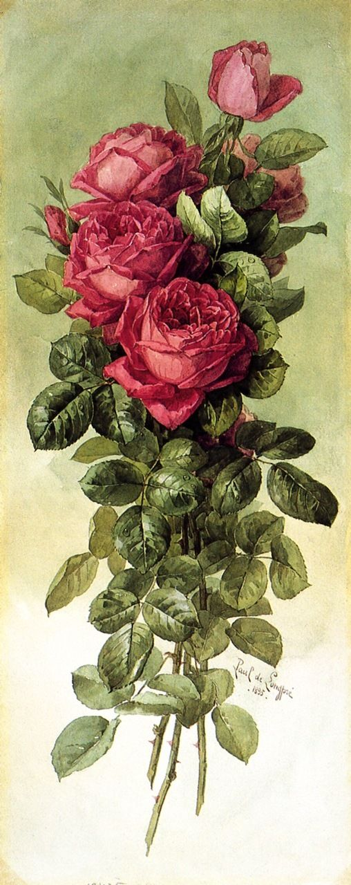 American Beauty Roses painting by                                                         Raoul de Longpre