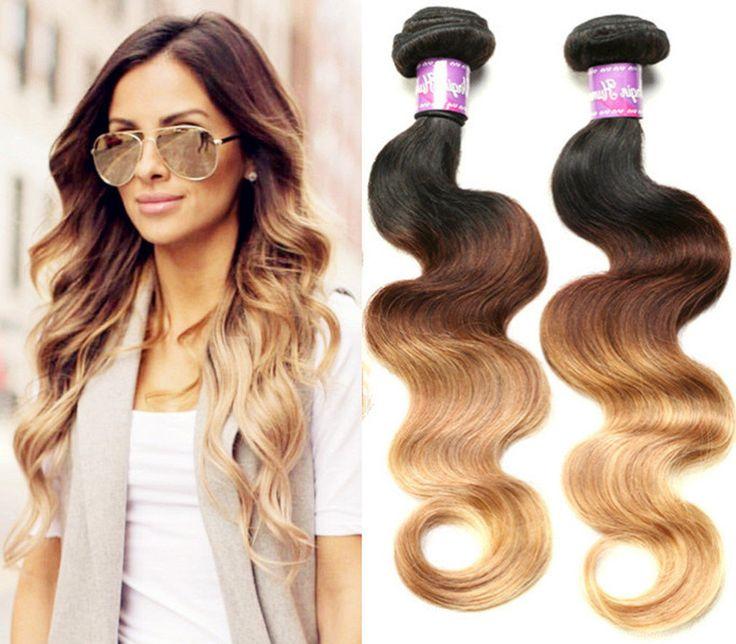 3 bundles ombre human hair weaving 3tone 1b/4/27 colour human hair bundles brazilian hair wefts