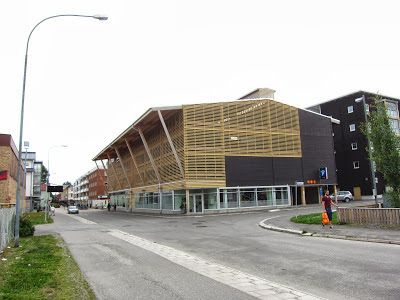 Parking garage / parkade made of wood Nygatan and Sodra Lasarettsvagen, Skelleftea, Sweden  AIX Architecture / Arkitekter