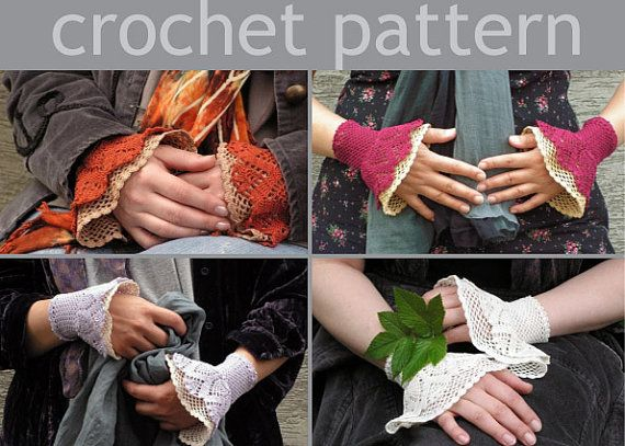 PDF CROCHET PATTERN  open work layered wrist by hypericumfragile