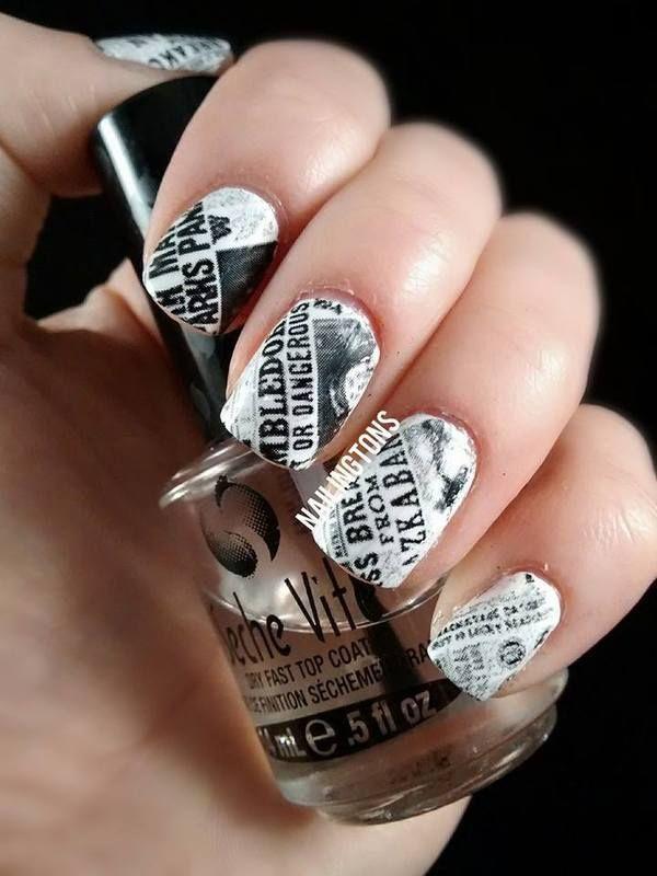 Harry Potter Newspaper Nails, Cool Newspaper Nail Art Ideas, http://hative.com/cool-newspaper-nail-art-ideas/,