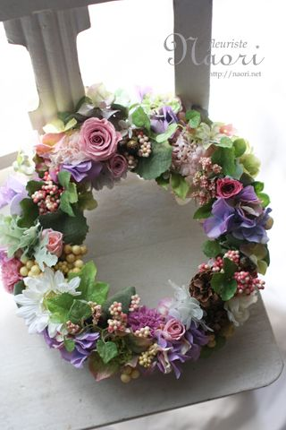 Springtime pink, purple, lavender, & white floral wreath