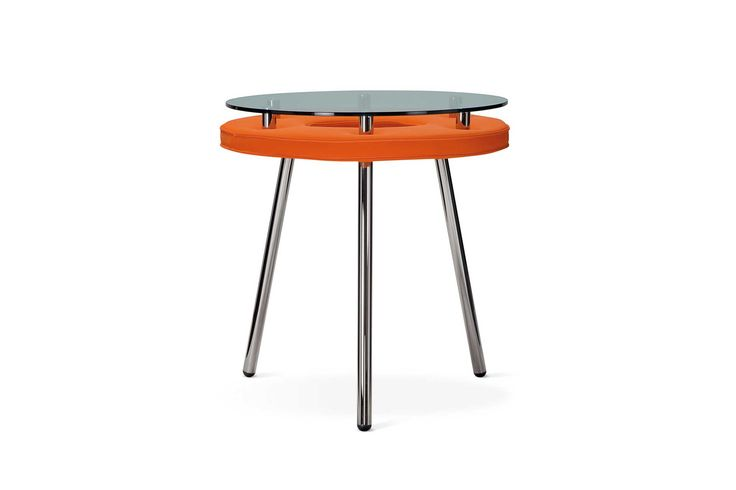 Table by Adrenalina Made out of metal, fabric and a top of glass. Flamboyant, bright orange, elegant and ultramodern design, to give a contemporary touch to your house.  My Italian Living