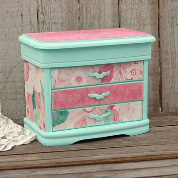 Shabby Chic Jewelry Box, Mint Green, Decoupage, Damask, Flowered, Upcycled, Hand Painted