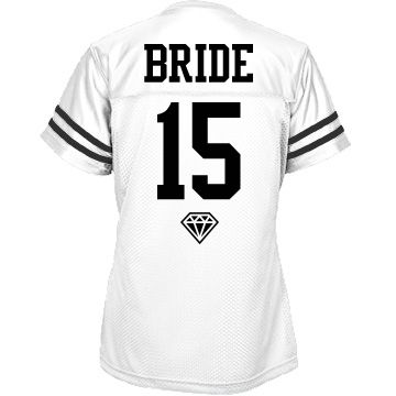 Fun Team Bride Jersey 1 | Customize cool sports jerseys for everyone in your bridal party, bride, bridesmaid, everyone! Great for a bachelorette party at a sports bar or sports event, like a football game. Put the year and names on the back and even something else on the front. Everything's up to you.
