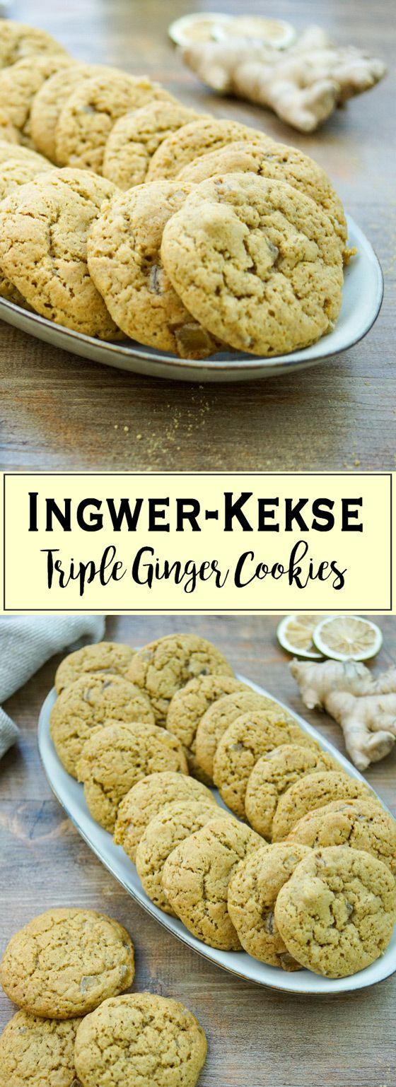 Würzige Plätzchen mit frischem Ingwer, kandierten Ingwer und gemahlenen Ingwer. In Eurer Weihnachtsbäckerei ist sicher noch Platz für diese leckeren Ingwer-Kekse. Denn ich habe für Euch ein perfektes Rezept für Weihnachtsplätzchen. Da kann die Weihnachtsbäckerei beginnen. Einfache Gesunde Rezepte - Elle Republic #plätzchen #kekse #cookies #weihnachten  #dinkelmehl #ingwer #gesund #vollrohzucker #rezept #backen