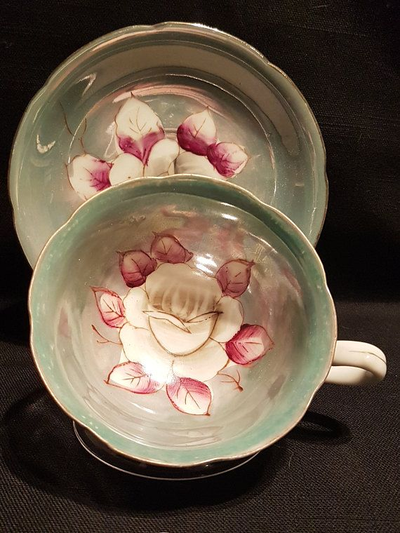 Vintage Shafford Hand Painted Decorated Footed Teacup Made In