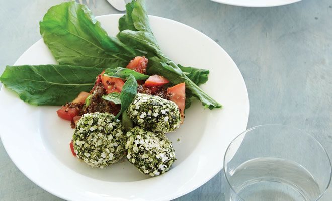 Mint falafel and quinoa couscous recipe
