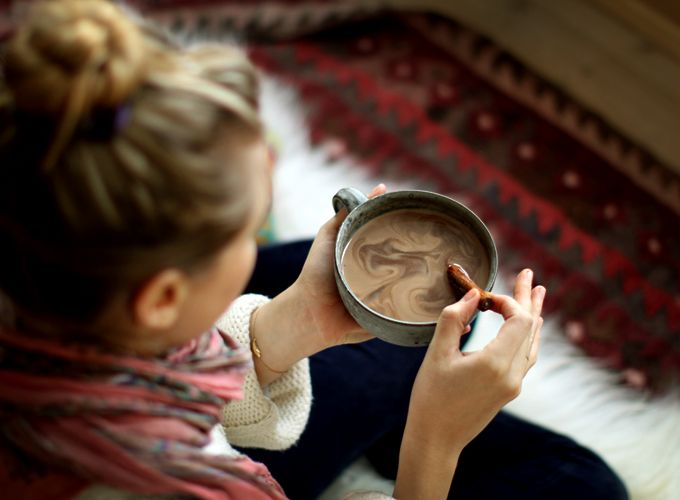 Superfood Hot Chocolate   (Serves 1)  2 T raw cacao powder,  2 t maca powder,  1 T sucanat,  pinch of each: sea salt, cinnamon powder,  cayenne pepper, ginger powder.  small piece vanilla bean, (or little vanilla extract),  1 ½ c milk     1. Warm milk.  2. Whisk in dry ingredients.