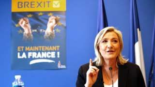 Image copyright                  AFP                  Image caption                     French nationalist leader Marine Le Pen – cheering the Brexit – says it is France's turn now   A while ago France's National Front (FN) leader Marine Le Pen said that if the UK voted to leave the EU, it would be like the Berlin Wall falling in 1989.  She was right. Brexit is a momentous event in the history of Europe and from now on the narrative