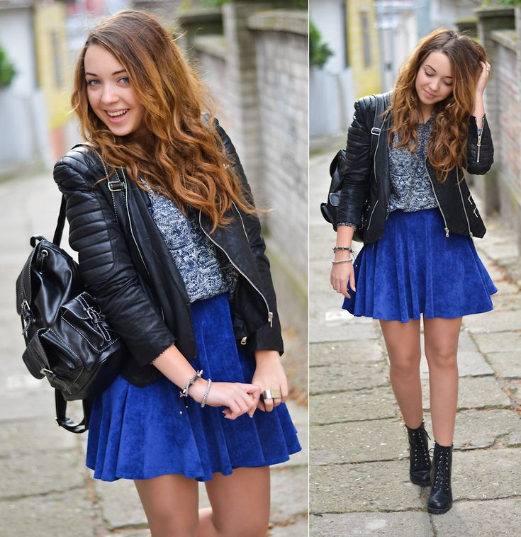 blue skater skirt leather jacket booties hair high