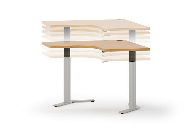 HON Height Adjustable Table. When combined with an optional motor, the worksurface ranges from 25 - 51 inches at the touch of a button.​ More info coming soon at www.hon.com.: Worksurface Ranges, Optional Motor, Photo Sharing, Hon Height, Commercial Design