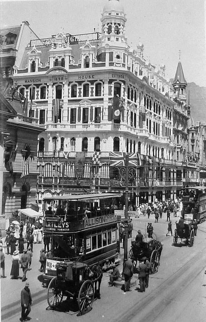 Cartwrights building and tram in Adderley Street, Cape Town 1917
