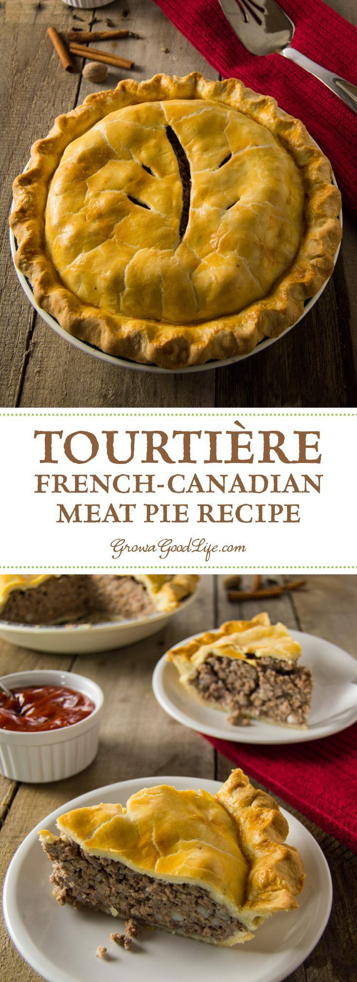 Tourtière, also known as pork pie or meat pie, is a traditional French-Canadian pie served by generations of French-Canadian families throughout Canada and New England. It is made from a combination of ground meat, onions, savory spices, and baked in a traditional piecrust.