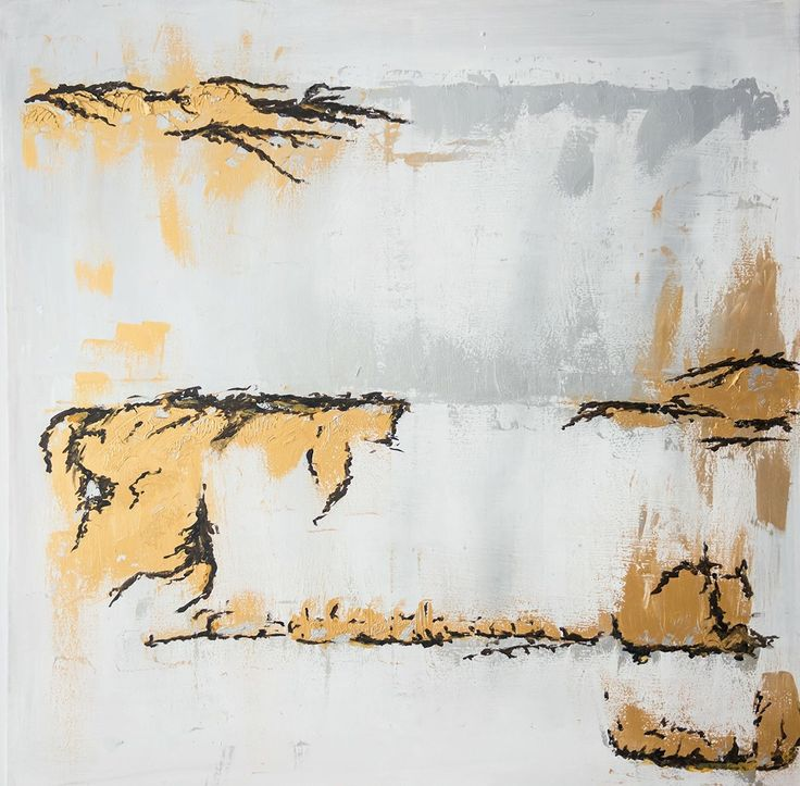 Gold Freeze - Painting by Aneta Szczepanska Art, 100x100cm light grey, gold, silver and black on canvas.