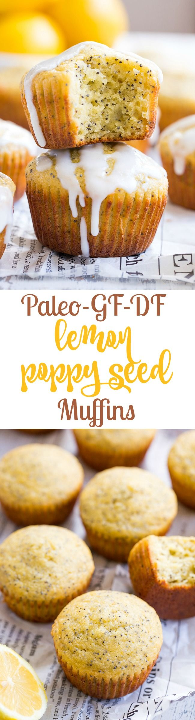 These Lemon Poppy Seed Muffins are tender, moist and full of sweet citrus flavor.  Drizzle them with a coconut glaze for a fun and tasty brunch treat or afternoon snack.  They're fast, easy, grain free, dairy free, paleo, and family approved!