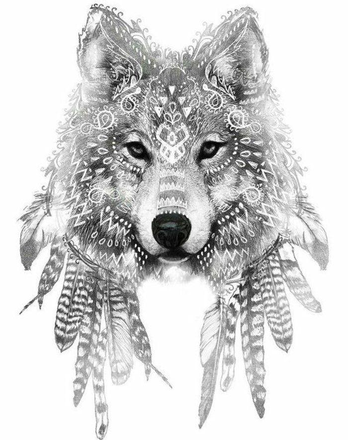 un autre loup de conte de fées avec des plumes d'oiseau une excellente idée pour un tatouage …   – wölfe