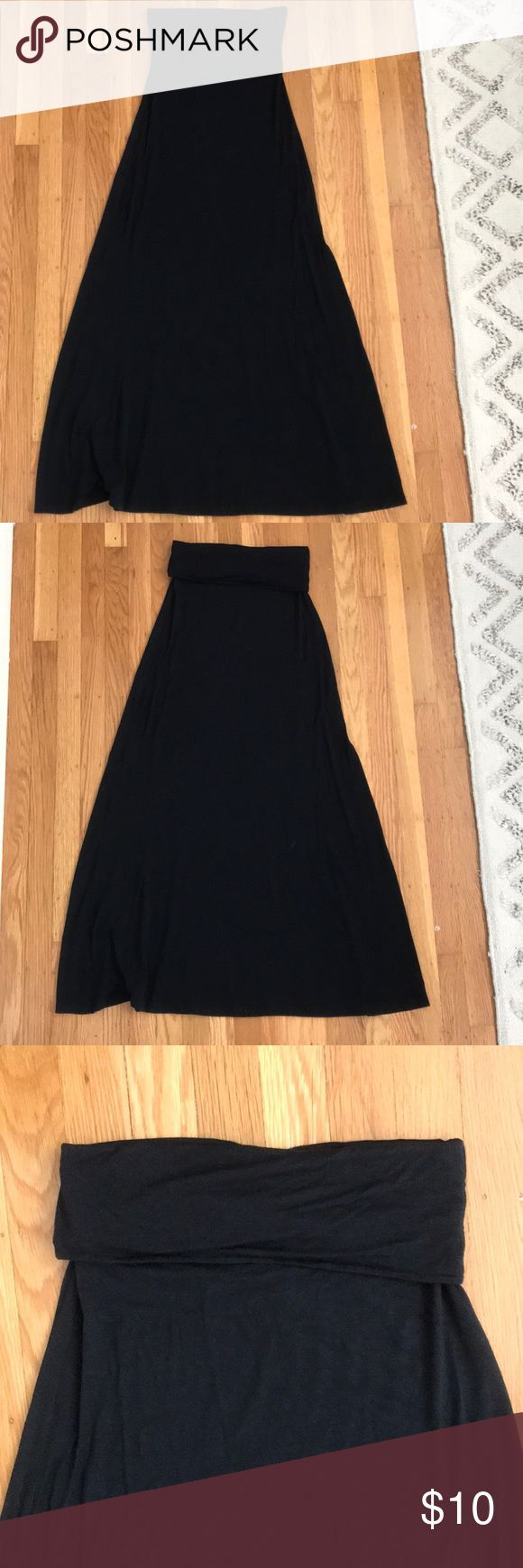 Black maxi skirt from Nordstrom Black maxi skirt in soft lightweight knit fabrication.  Can rollover waistband which has cute ruched detail.  Easy for travel. Great for hot summer days. I wore it as a high waist paired with a crop top (also for sale).  93%modal/7%spandex.  Hand wash -  flat dry - cool iron or steam.  Not altered. Nordstrom Skirts Maxi