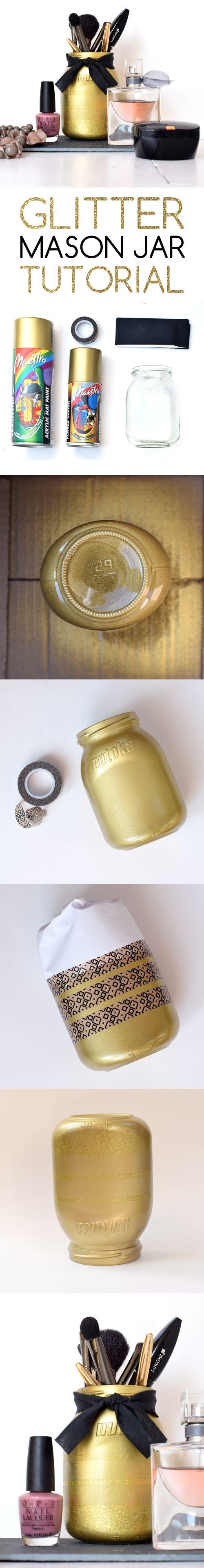 Glitter Mason Jar | DIY | Make up Brush Holder | bold.color.glass blog
