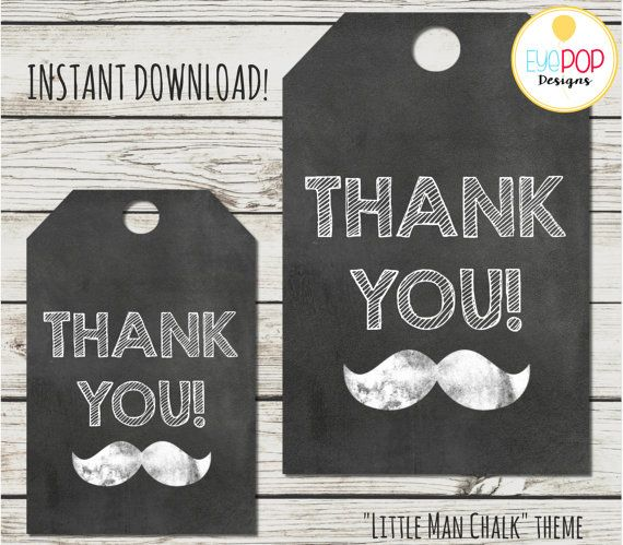 LITTLE MAN CHALKBOARD FAVOR TAGS/THANK YOU TAGS  Great matching decor for an…