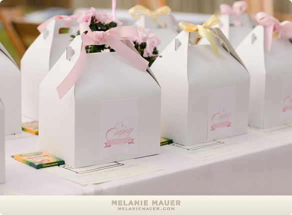 adorable boxes from the cute as a button party put together by Elizabeth of Lovely Little Parties