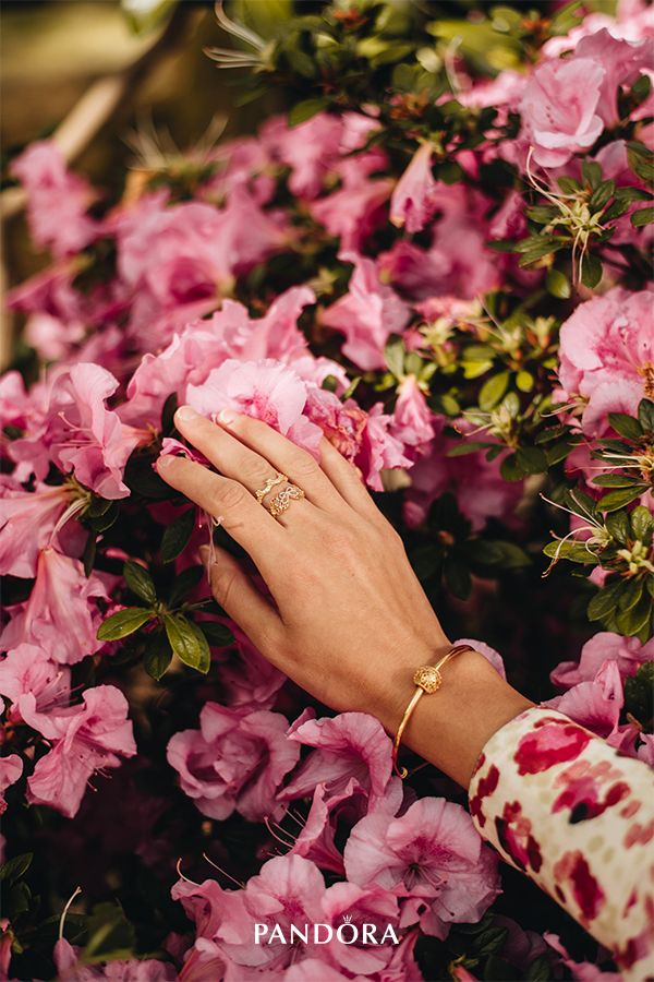 e048d97cd ... spring look with our new seasonal Openwork Butterfly ring in 18k  gold-plated sterling silver and crown it with the Flower Crown ring in Pandora  Shine.