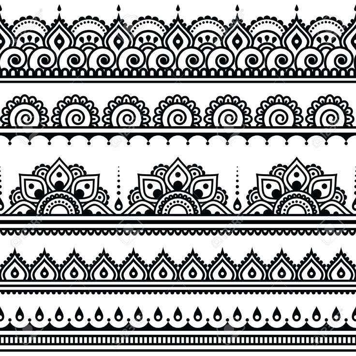 Mehndi, Indian Henna tattoo seamless pattern, design elements Standard-Bild - 40075234