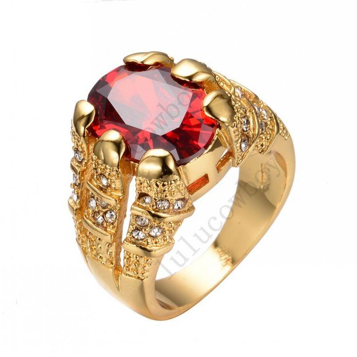 Nieuwe Mode Grote Ovale Rode Mannelijke Wedding Ring mannen Liefde sieraden 14KT Geel Goud Gevuld Belofte Verlovingsringen Voor Mannen RY0005