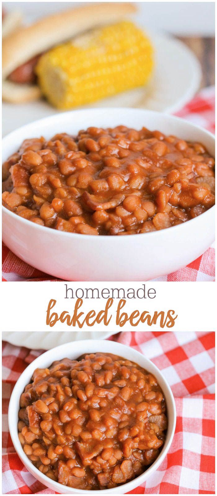 The BEST Homemade Baked Beans recipe - it's such a simple recipe and is done in the crock pot!! It's a must-have at our BBQs.