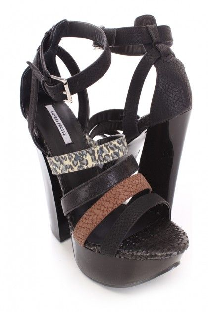 Black Animal Print Strappy Heels Faux Leather