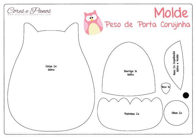 Ateliê Cores e Panos: Peso de Porta Corujinha - PAP e Molde