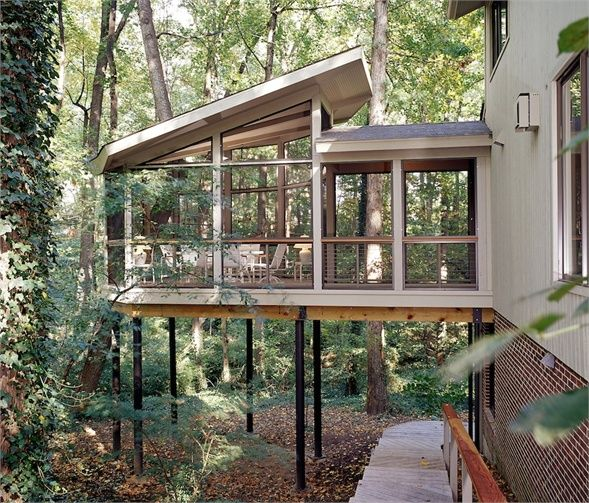 In This Mclean Home A Bridge Leads From The Kitchen To An