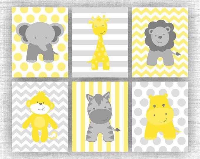 Amarillo y gris animales de la selva, elefante, jirafa, hipopótamo, León, mono, cebra, Chevron, arte de la pared del bebé, de 6, 8 x 10, descarga inmediata