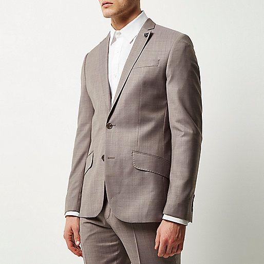 Purple print lined wool-blend slim jacket - suits - sale - men