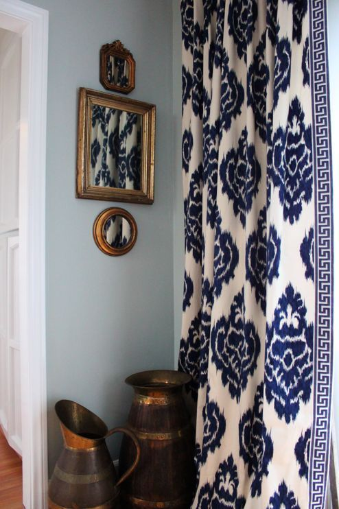 Ikat curtains, navy & white - living room.  love the greek key trim. I would love this if it was black and cream or light green and cream.