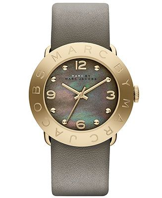 Marc by Marc Jacobs Watch, Women's Amy Dirty Martini Leather Strap 36mm MBM1287 - Impulse Brands - Jewelry & Watches - Macy's