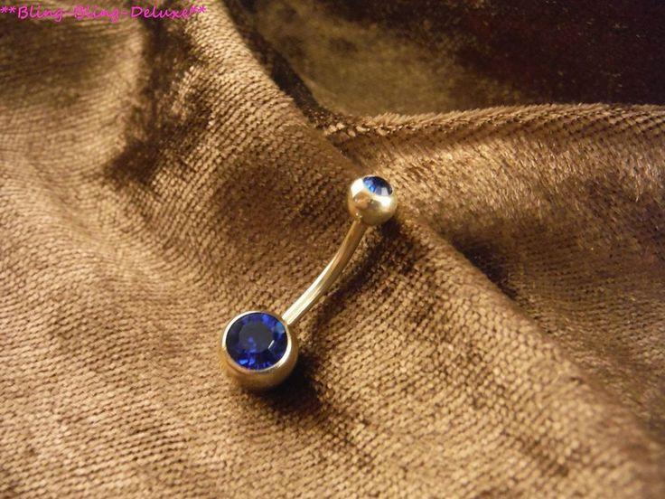 Piercing 24 Karat Gold Bauchnabel Stein Blau Stecker Banane Kugeln