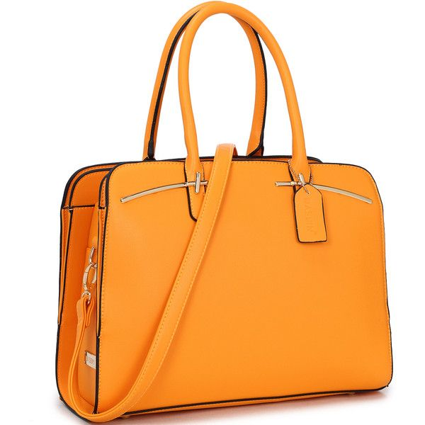 Women's Dasein Satchel Collection HandbagCedric/Orange (£29) ❤ liked on Polyvore featuring bags, handbags, orange, satchel bag, orange purse, orange handbags, handbag satchel and orange satchel handbag