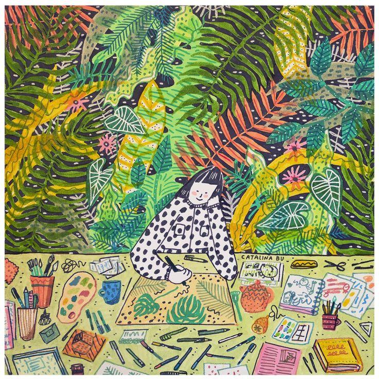 """Print """"Selva"""" full color ilustrado por la ilustradora chilena Catalina Bu"""