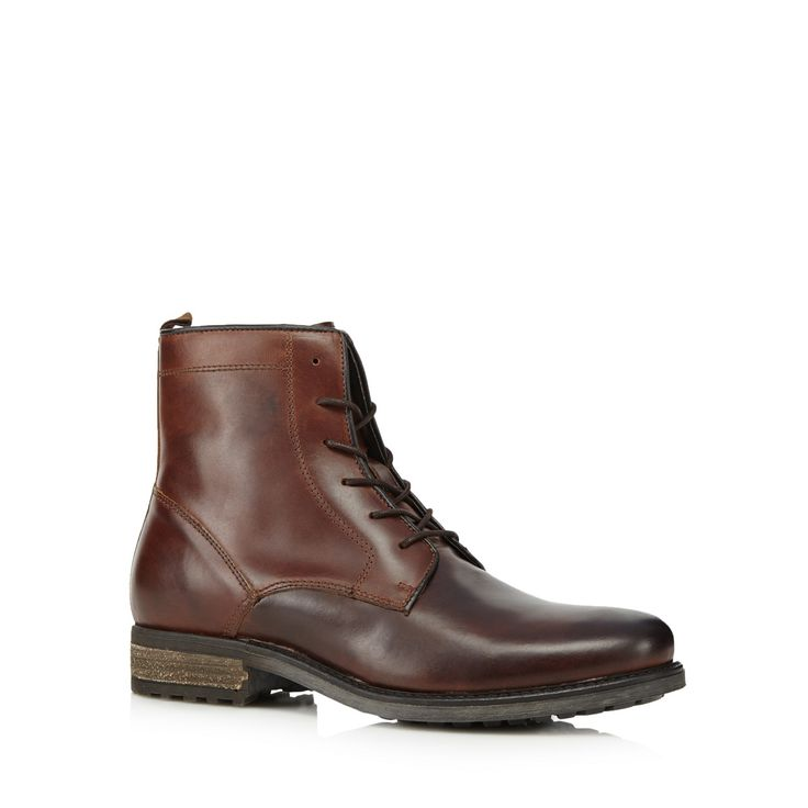 Invest in these smart boots from the J by Jasper Conran collection. These luxurious leather boots come in brown with a lace up design. Style these boots with a brown blazer and turned-up denim for weekend looks.