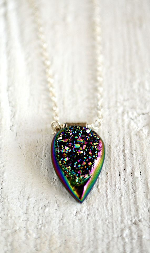 Rainbow druzy necklace colorful stone necklace by KahiliCreations, $47.00.  (Glue-on bail.)