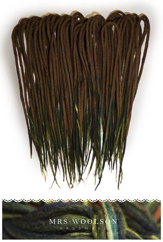 FULL HEAD 40 DE Brown / green wool dreadlocks forest love  https://www.etsy.com/shop/MrsWoolsonHandmade ● #woolies #wooldreadlocks #wooldreads #dreadlocks #dreads #rasta #tribal #gypsy #dreadextensions #dread #handmade #handmadedreadlocks #wool #greendreads #green #moss #forest