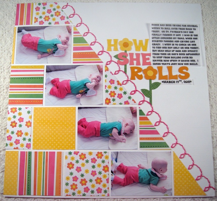 Love it!Mimic Rolls, Simple Layout, Pretty Simple, Diagon Feelings, Strong Diagon, Scrapbook Layout, Long Strips, Homemade Crafts