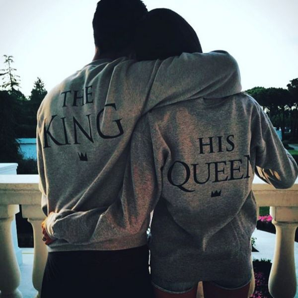 Street Style Hip-pop THE KING And HIS QUEEN Couples Casual Sweatshirt - Lupsona