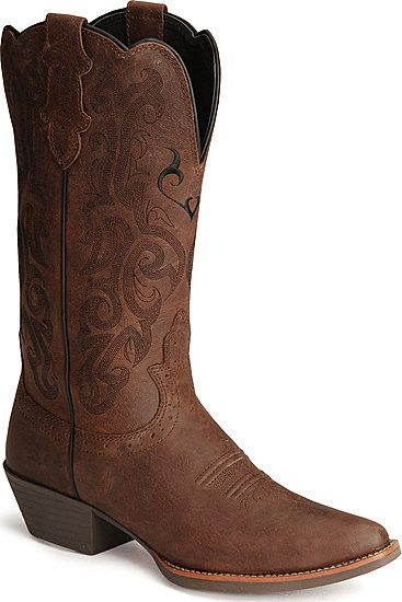 I finally found a picture of cowgirl boots I like. I'm kind picky about what I want my future pair to look like. Must be mid-calf, no colored designs, medium brown, (not too dark or light) not too high of a heel, and of course, in the right foot size. ;)